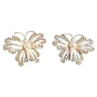 Silver Filigree Butterfly Pair Pin Brooch Vintage Deco Butterflies Set Continental Wire Detail