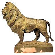 Vintage Lion Figural Figurine Statue Shabby Chic Chippy Bronzed Color
