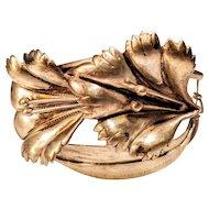 Sterling Art Nouveau Floral Bracelet Cuff