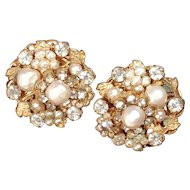 Vintage DeMario Faux Pearl and Rhinestone Earrings Gold Tone Exquisite Clip Button Style