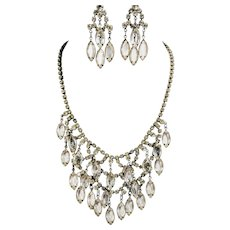 Vintage Waterfall Necklace Glass Crystal Earring Set Demi Parure Prom Party Wedding Jewelry Rhinestone