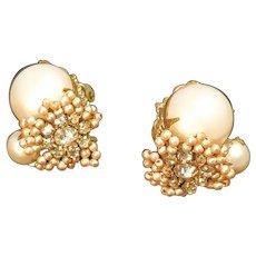 Miriam Haskell Earrings Faux Pearl Rhinestone Vintage Wedding Formal Evening