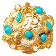Vintage Cabochon Turquoise Moonstone Brooch Pin Gold Tone Floral Leaf Laurel