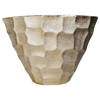 Retro Vintage Vase Gold Silver Tone Micro Beaded Texture Sand Sugar Glaze Alligator Style
