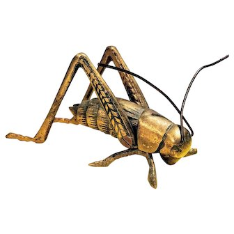Vintage Brass Grasshopper Articulated Jointed Cricket Locust Insect Paperweight Figurine Statue Desk Vanity Bug MCM Mid Century Retro Good Luck