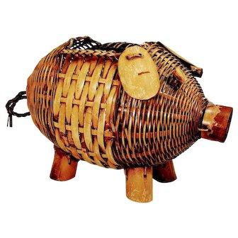 Wicker Vintage Pig Planter Piggy Hog Mid Century Basket Holder