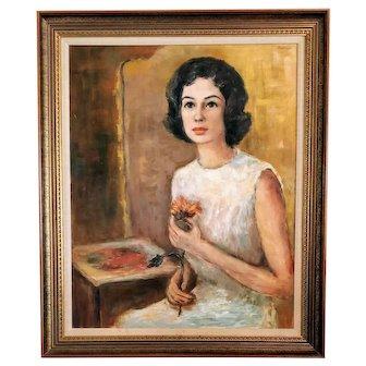 Vintage Mid Century Portrait Lady Painting Woman Oil Signed MCM 1950s Retro Female