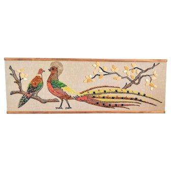 Pebble Gravel Art Bird Vintage MCM Mid Century Craft Wall Decor Tiles Pheasant Pigeon Dove Tree Retro