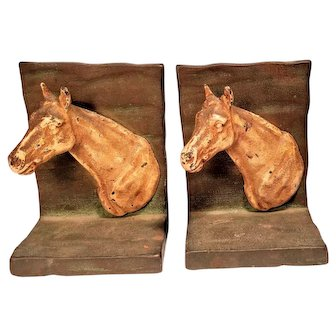 Cast Iron Vintage Hubley Horse Bookends Painted Pony Book Ends Figural