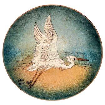 Vintage Enamel M. Ratcliff Heron Bird Plate Mid Century on Copper Tray