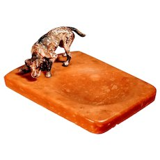 Vintage Bronze Painted Dog on Bakelite Tray English Pointer Setter Amber Egg Yolk Trinket Pup Valet Hunting Dog