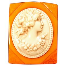 Vintage Bakelite Amber Cameo Egg Yolk Pin Brooch Yellow Cream Grecian Lady Woman Celluloid