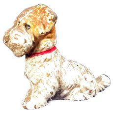 Vintage Hubley Terrier Dog Cast Iron Desk Novelty Painted