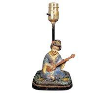 Vintage Hubley Asian Geisha Lamp Lady Mandolin Shamisen Cast Iron Cushion Kimono Woman Chinese Japanese