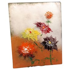 Vintage Copper Enamel Paint Art Picture Mini MCM Mid Century