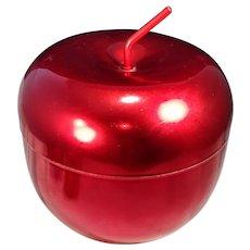 Vintage Apple Metal Ice Bucket Aluminum MCM Mid Century Container Fruit Cookie Jar Red New York