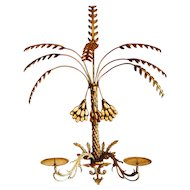 Vintage Brass Sconce Palm Hollywood Regency French Italian Date Candle Frond Organic 1940
