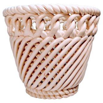 Vintage Porcelain Basket Weave Planter Spain Ceramic Pot Hand Woven Mid Century Twist Rope