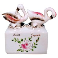 Vintage Flamingo Nodder Salt and Pepper Shakers MCM Mid Century Kitsch Hand painted Pink Roses