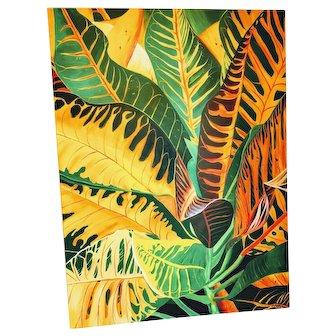 Oil Painting Croton Palm Tree Plant Retro Tropical Art Artwork Wall Paint