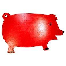 Vintage Pig Wooden Cutting Board Folk Art Primitive Red Piggy