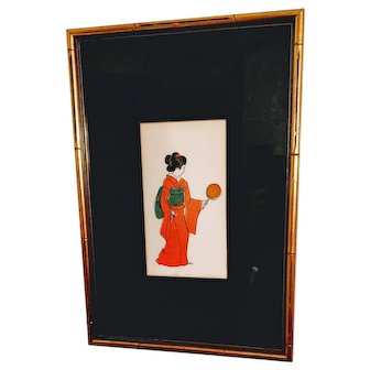Asian Geisha Girl Lithograph Susan Underwood Art Oriental Japan Japanese MCM Mid Century