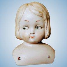 Vintage German Bisque Hertwig Doll Head Blonde Blue Eyes Germany