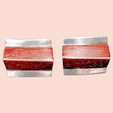 Vintage Modernist Sterling Cufflinks Silver Wood Taxco Mexico Wooden Art MCM Mid Mod Century