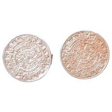 Vintage Cufflinks Mayan Sun Aztec Calendar Sterling Silver Cuff Links MCM 925 Mexico Mexican