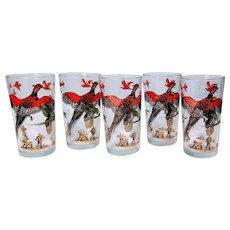 Vintage Hazel Atlas MCM Barware Pheasant Hunting Glasses Dog Hunter Cabin, Lodge, Bird, Set five, 5
