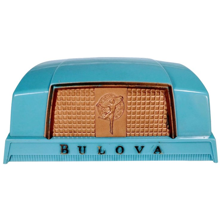 Vintage Art Deco Bulova Watch Box Presentation 1930s 1940s Original Blue Celluloid Fifth Ave New York