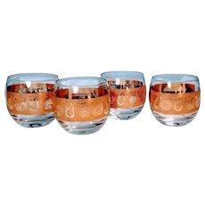 Vintage Roly Poly Gold Glasses Culvers Gold Signed Mad Men Era Fruit Pattern Set Four