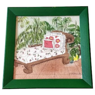 Vintage Watercolor Palm Plants Painting Chaise Garden Room