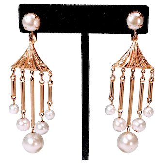 Vintage Faux Pearls Earrings Gold Tone Dangle Clip Costume