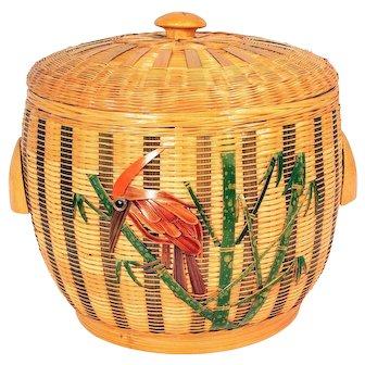 Vintage Basket Ice Bucket Reed Rattan Wicker Mid Century Enamel Bird Woodpecker
