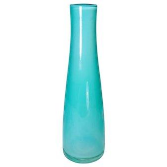 Vintage Tiffany Blue Color Glass Vase Vessel Art Turquoise Aqua Bottle Shape