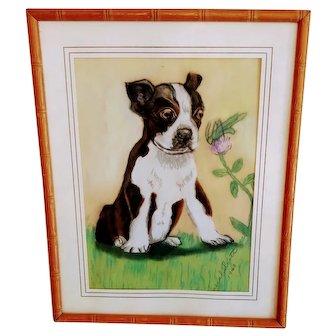 Vintage Pastel Dog French Bulldog Frenchie Framed Pup 1940s Grasshopper