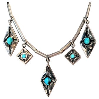 Vintage Turquoise Window Sterling Necklace Southwest Native American Silver Dangle Charm Jewelry