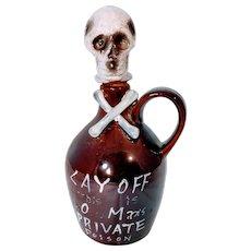 Vintage Decanter Poison Whiskey Skull Crossbones Alcohol