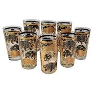 Vintage Hammacher Schlemmer Glasses Mid-Century Stock Market Bull and Bear Highball Set 8 MCM Gold Black