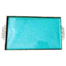 Vintage Kyes Moire Glaze Tray Turquoise Gold Enamel Mid Century Modern Aqua California Greek Key MCM