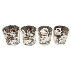Vintage Barware Glasses Bar Dante Old Fashioned Lowball Rocks White Floral Flower Garden Whiskey Gold Mid Century MCM Retro Alcohol