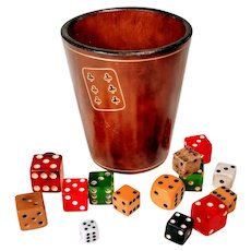 Vintage Dice Cup Leather Italian Italy Shaker Gaming Gilt Gold Game Card Bar