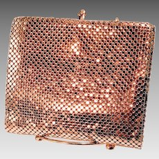 Vintage Whiting Davis Wallet Clutch Fold Out Purse Gold Tone Mesh Billfold Coin