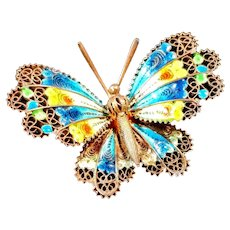 Vintage Sterling Enamel Butterfly Filigree Brooch Pin Yellow Blue Silver Jewelry Insect Plique a Jour