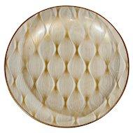 Vintage Gold Glass Svend Jensen Dish Plate Denmark Mid Century Spiral Detail Bowl Atomic Retro MCM Culver Style Bar Barware