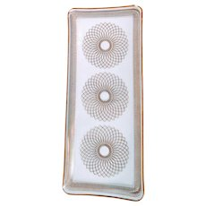 Vintage Gold Glass Dish Svend Jensen Tray Mid Century Spiral Detail Serve Atomic Retro MCM Culver Style Bar Barware