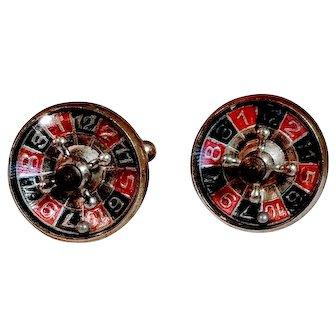 Vintage Cufflinks Roulette Wheel Las Vegas Mens Casino Gaming Cuff Links Jewelry Working Spinner Men Good Lucky Luck