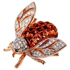 Vintage Bee Brooch Jackie Orr Pin Rhinestone Bumble Insect Bug Amber Green Gold Designer