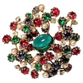Vintage Schreiner Brooch Multi Rhinestone Cabachon New York NY Designer Signed Pin Large Red Blue Green Pearl Crystal